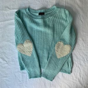 LF stores YOU light sweater w/ heart elbow pads
